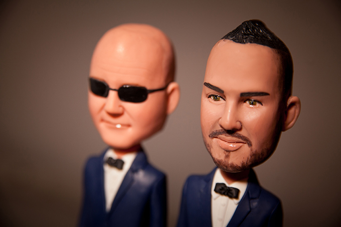 Close-up of LGBT Wedding Cake Topper - Charter Yachts of Newport Beach