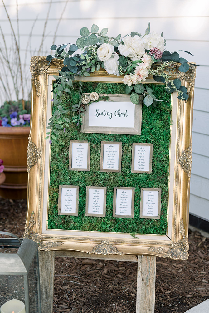Wedding SEating Chart in gilded antique frame with moss and fresh flowers - detailsdetails