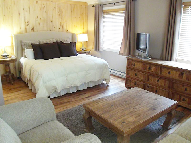 Silverpick Lodge - Game room with fireplace bedroom suite
