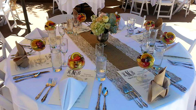 The Briarwood Inn - Table setting and menu