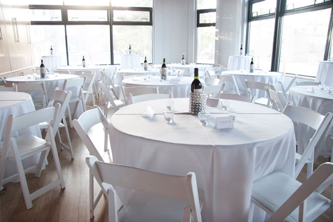 Wash Park Studio - White linen dining area with natural light