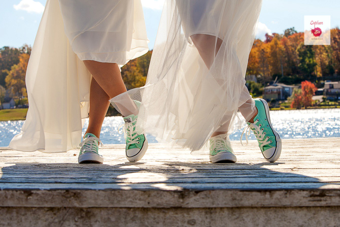 Capture Photography - Photo of brides seafoam green tennis shoes