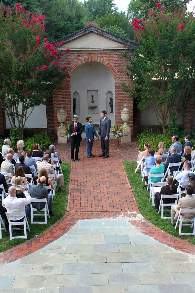 Dumbarton House - Gay grooms following ceremony