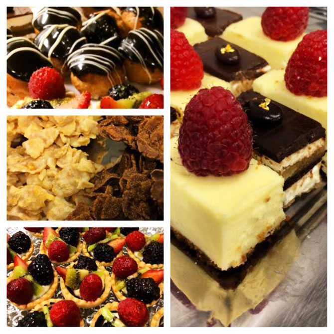 Main Event Caterers - Assorted petit sweets tarts and cakes fresh berries