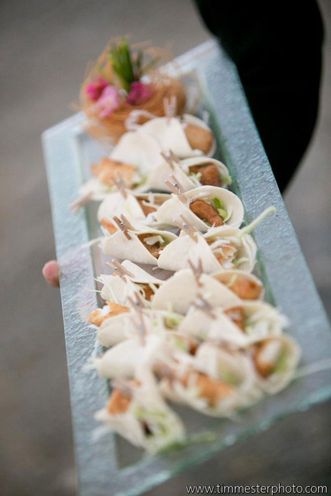 Main Event Caterers - Hors d'oeuvres wraps on serving tray