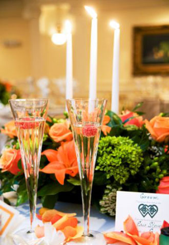 Phoenix Park Hotel - Champagne flutes with floral candle centerpiece