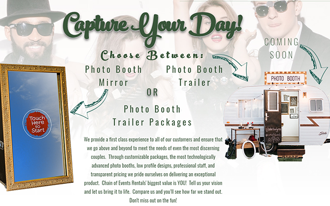 Interactive Photo Booth Rentals - Photo Booth Mirror - Photo Booth Trailer - Chain of Events Rentals