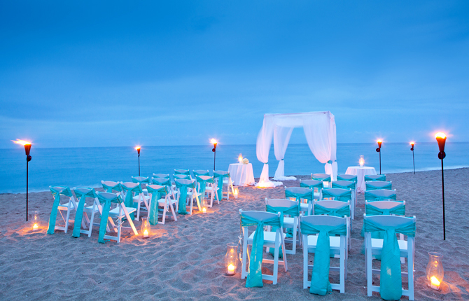 hutchinson island marriott beach resort marina beach wedding evening