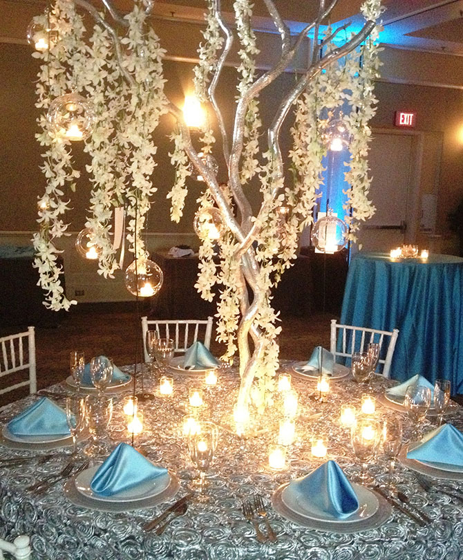 John Michael Weddings & Special Events - Tiffany Blue and Platinum Wedding Reception Decor