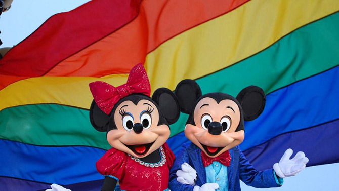 Disney Pride - Gay Days - Orlando Florida - Mickey and Minnie Rainbow Pride Flag