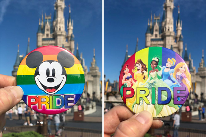 Disney Gay Days in Orlando Florida - Pride buttons - Disney Princesses and Mickey Mouse