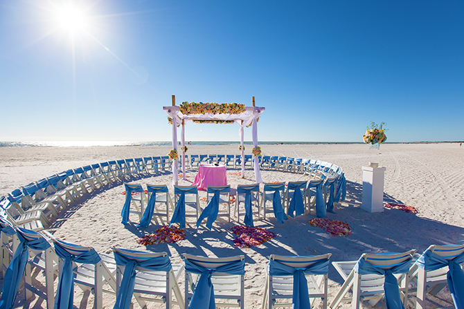Marco Island Mariott Florida Beach Wedding Spiral Setup