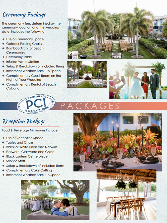 Wedding Ceremony and Wedding Reception Packages at Postcard Inn On The Beach St. Pete Beach