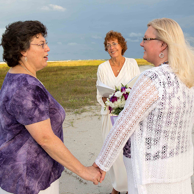 "Rev. Susan ""Sophie"" Bierker - Floral Heart on the beach"
