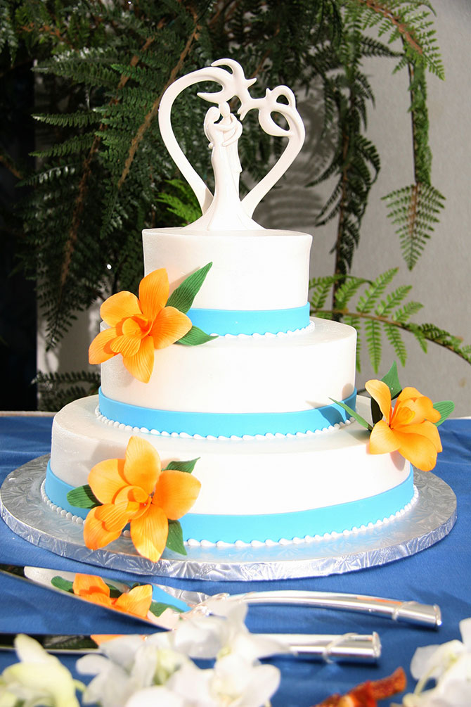 Royal Fiesta Caterers & Event Center - Fondant wedding cake baby blue and white