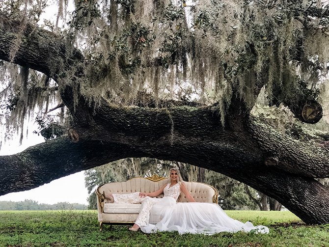 Old Oak Tree Rustic Wedding Glam Shot- Seas Your Day Events - Central Florida LGBT Wedding Venue