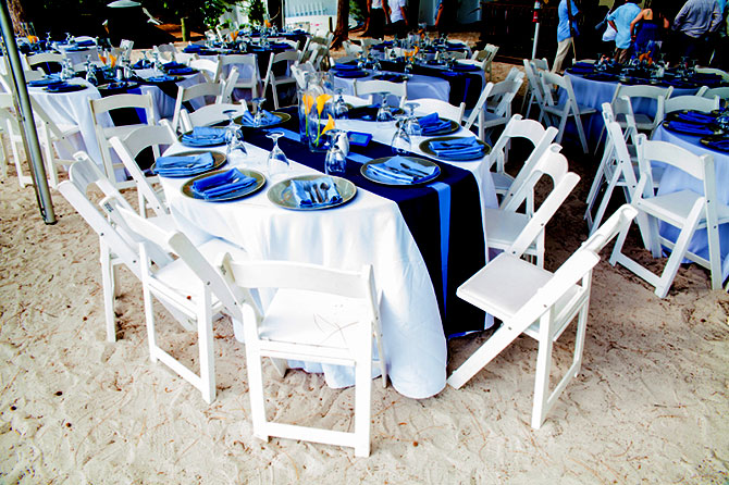 Sunset Beach House - Dining Tables on the sand