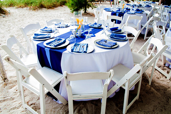 Sunset Beach House - Wedding Reception Dining Table