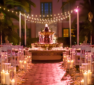 The Vinoy Renaissance St. Petersburg Resort & Golf Club wedding ceremony exterior night