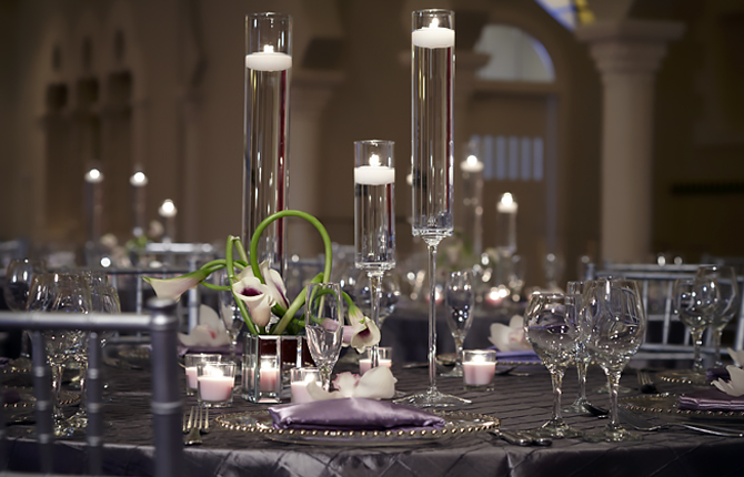 The Vinoy Renaissance St. Petersburg Resort & Golf Club wedding reception table floating candles