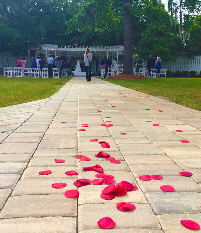 Rose petals leading to wedding ceremony in Jacksonville, FL - Weddings and More by Deb