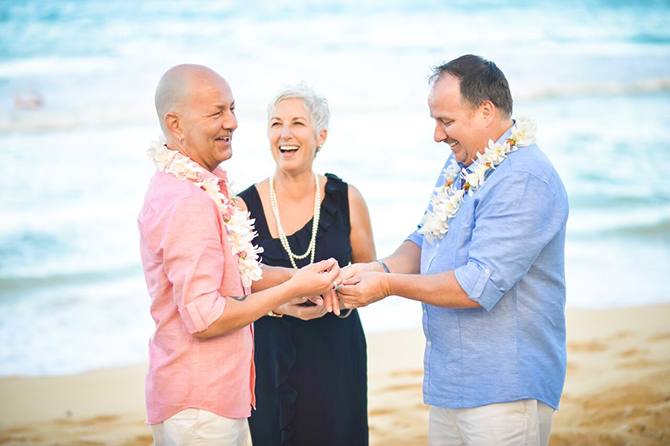 I Do Hawaiian Weddings - Oahu lesbian couple military marriage ceremony