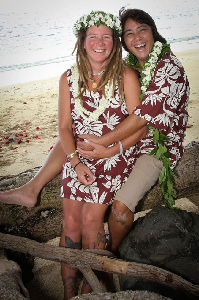 I Do Hawaiian Weddings - Oahu Gay Wedding on the Beach with dogs