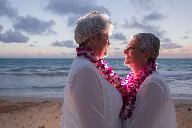I Do Hawaiian Weddings Oahu military wedding same-sex couple