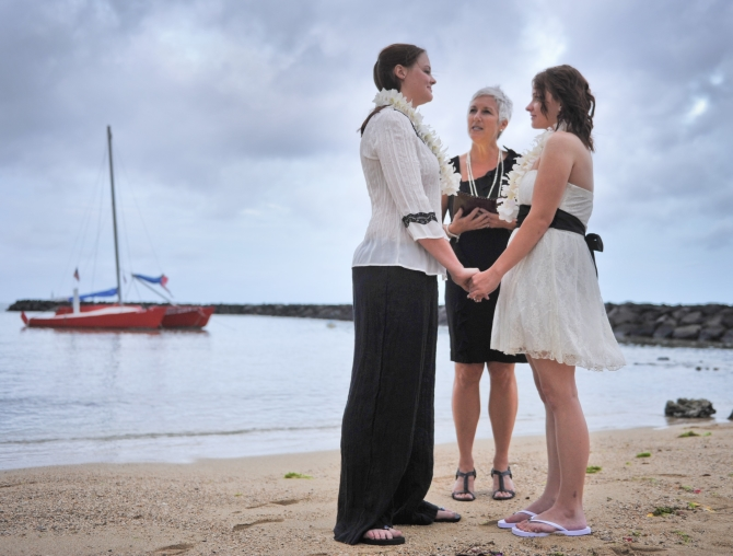 I Do Hawaiian Weddings Oahu GLBT Beach wedding