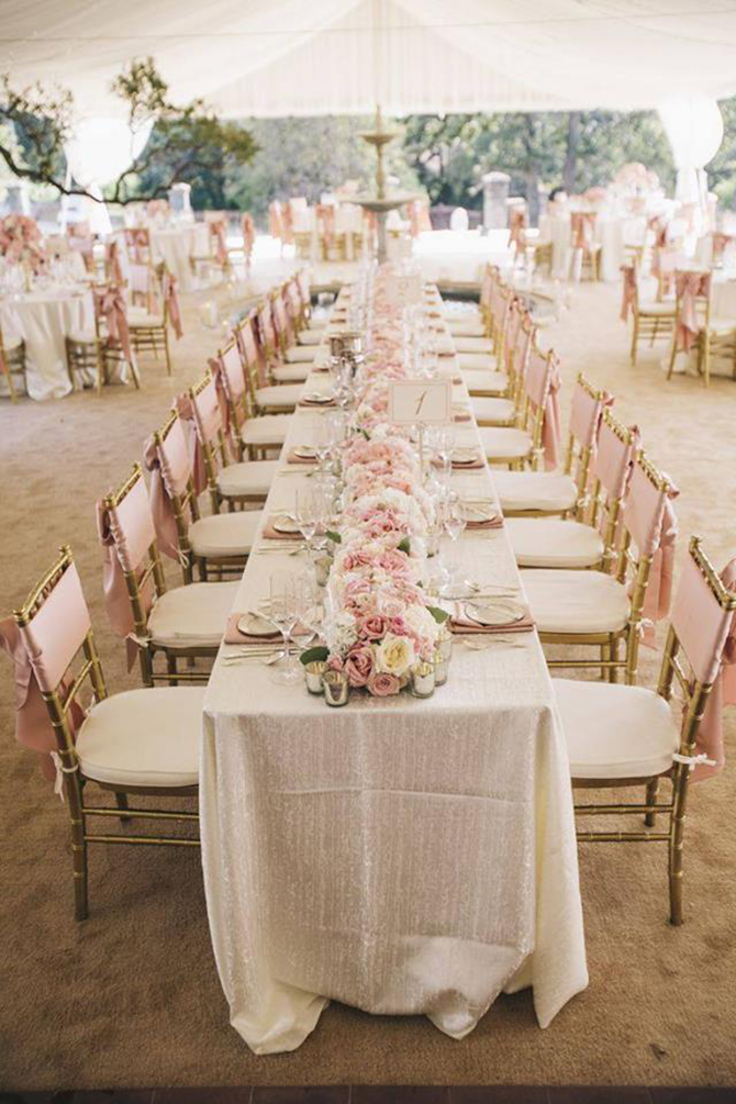 Purple orchid Wedding - Fully dressed reception table with centerpiece of pink and white roses