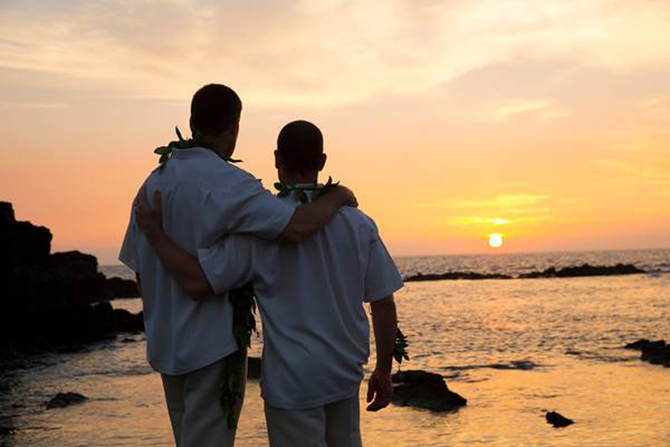 Purple orchid Wedding - Gay couple watching the sunset over a rocky beach