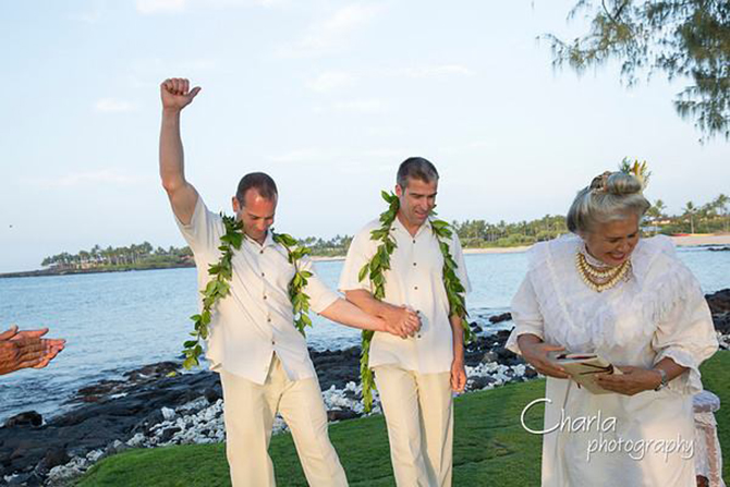 Purple orchid Wedding - LGBT Grooms and wedding officiant