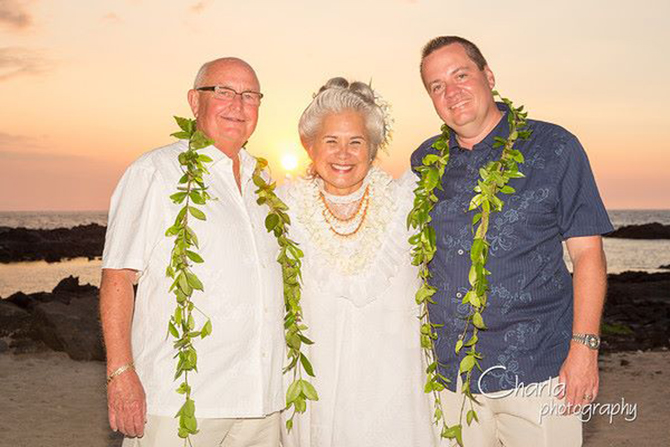 Purple orchid Wedding - Wedding officiant at sunset