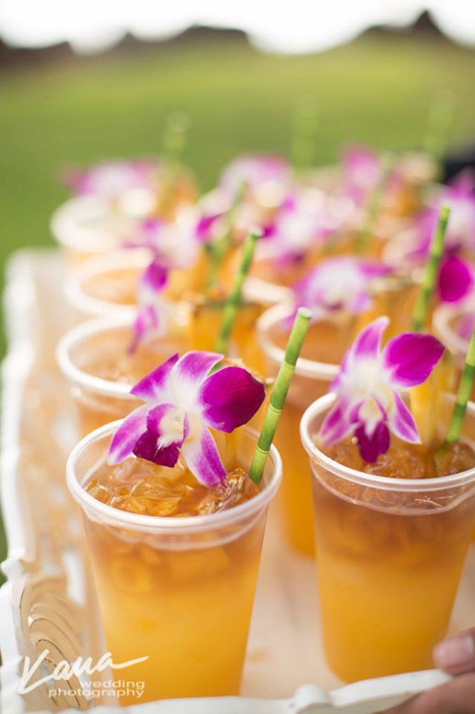 Purple orchid Wedding - Refreshing iced drinks with bamboo straws and garnished with purple orchids