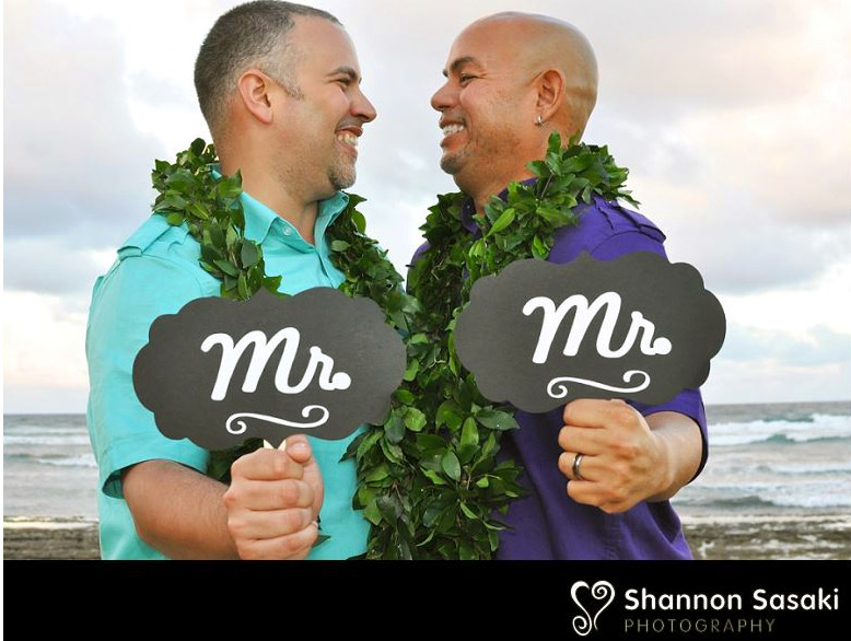 Purple orchid Wedding - Hawaii Mr and Mr Sign