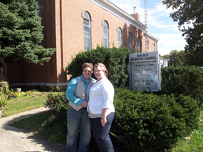 Best Wedding Chapel LGBT Shelbyville Illinois brides outside chapel