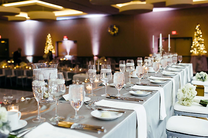 Chicago Marriott Naperville illinois lgbt reception sites wedding table with water glasses
