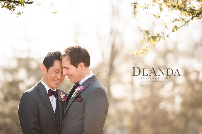 gay wedding couple smiling - DeAnda Photography - IL