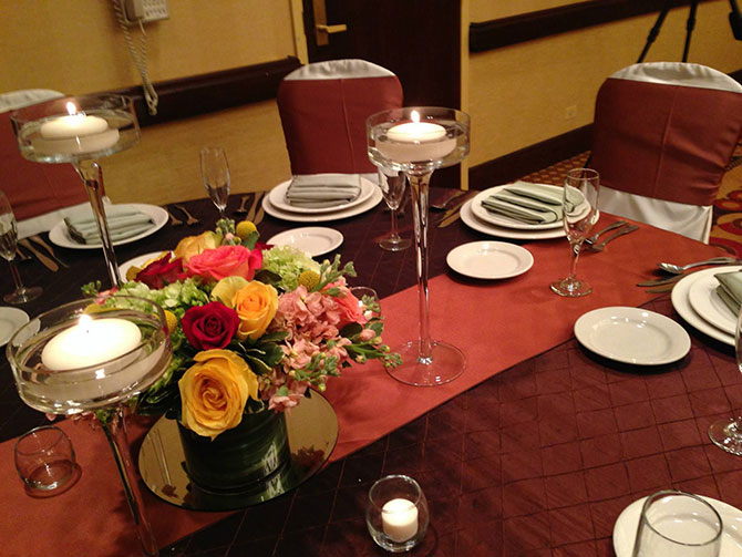 Embassy Suites Chicago - North Shore / Deerfield - Candlelit wedding  reception table setting