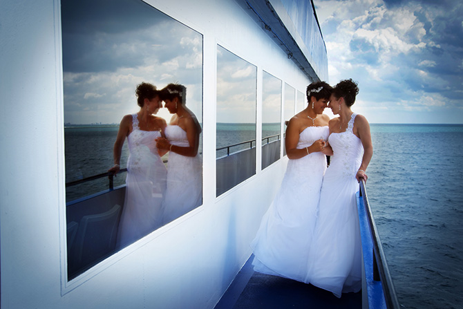 Entertainment Cruises - Lesbian brides alone on deck of cruise ship