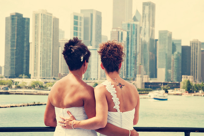 Entertainment Cruises - Brides view Chicago skyline from Odyssey Cruise Ship