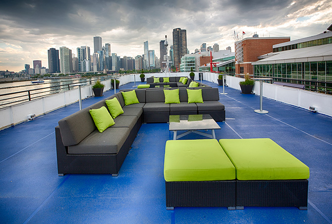 Entertainment Cruises - Odyssey cruise modern deck seating