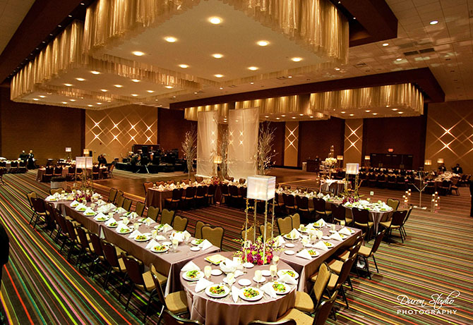 Midwest Conference Center gold wedding reception