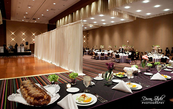 Midwest Conference Center lught blue and dark brown wedding reception