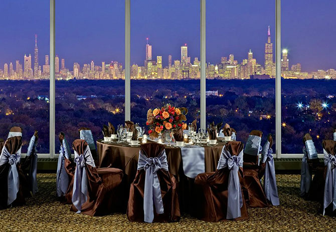 Midwest Conference Center large wedding ceremony with chair covers