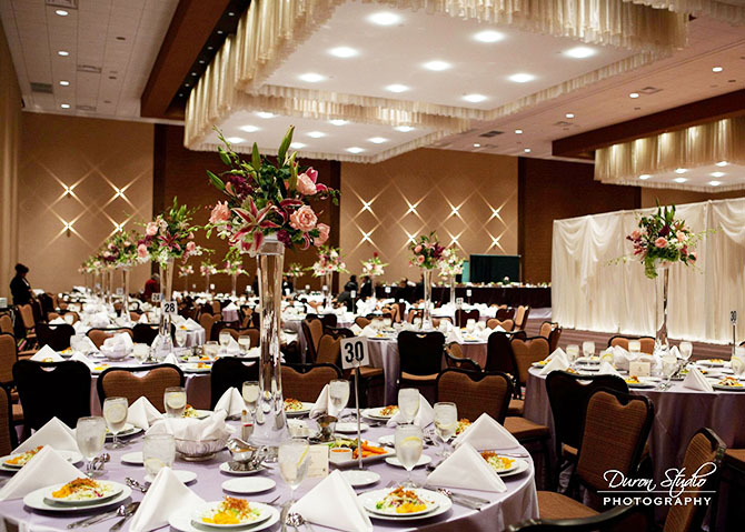 Midwest Conference Center light pink and purple wedding reception