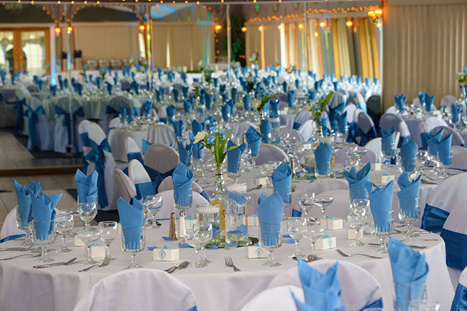 blue wedding reception at Parkway Banquets and Catering LGBT Weddings in Ingleside Illinois