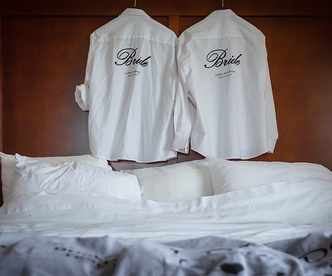 Two Brides shirts Parkway Banquets