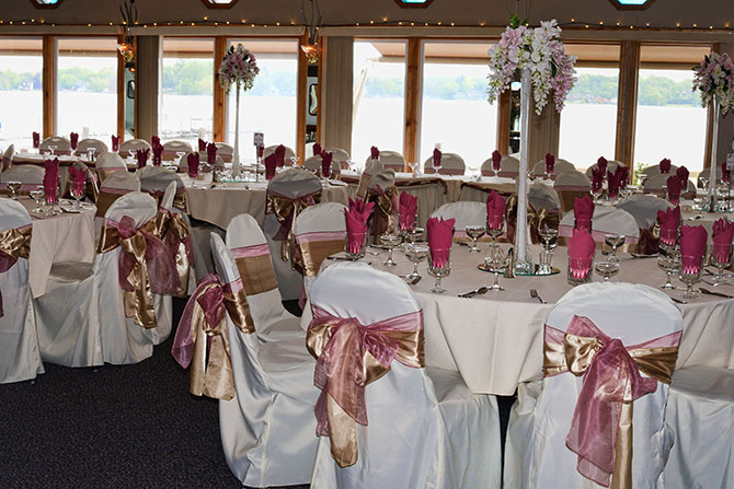 Wedding Reception in Pink and Gold Parkway Banquets and Catering