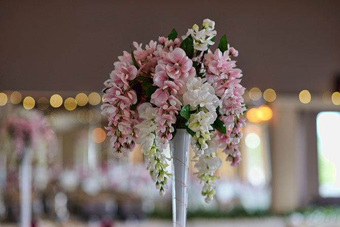 Pinkk and white wedding centerpiece at Parkway Banquets and Catering